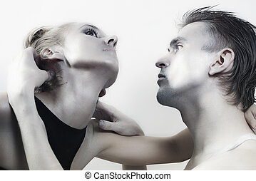 young couple in love with brilliant makeup