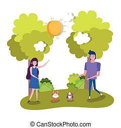 young couple walking with her pets outdoor healthy life