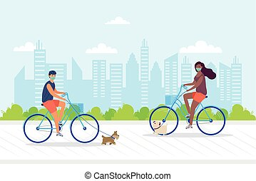 young couple wearing medial mask in bicycles with pets