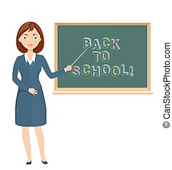 Young female teacher pointing on chalkboard with back to school message. education theme cartoon illustration. vector
