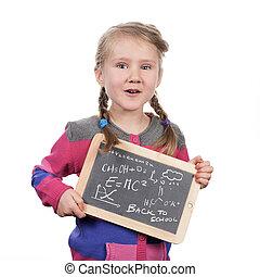 young girl holding slate