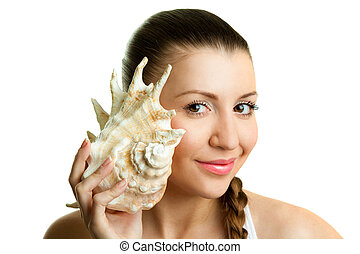 young girl with a shell
