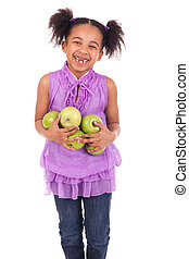 young girl with apple green