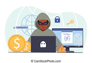 Young male hacker is cyber attacking computer stealing personal data. Concept of hackers and cyber criminals stealing private email, credentials, password. Flat cartoon vector illustration