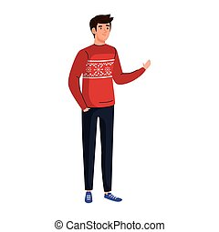 young man wearing red coat character vector illustration design