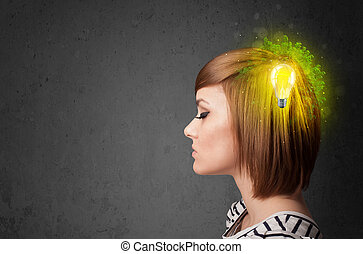 Young mind thinking of green eco energy with lightbulb