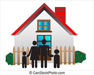 young parents, happy family, family in front of house, sweet home, vector illustration, A traditional family mom dad boy girl safe at home in their house, family house, parents and children, modern life