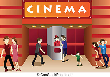A vector illustration of young people hanging out outside a movie theater