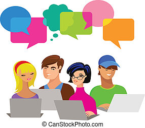 many different colorful young people - vector illustration
