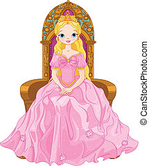 Illustration of young queen sitting on the throne