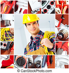 Young smiling builder electrician and set of tools