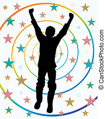 abstract, active, alone, altitude, arms, background, boy, celebrate, celebration, compete, competition, conquest, culmination, emotion, excited, excitement, free, freedom, glory, happiness, happy, help, hope, illustration, joy, jump, leisure, male, man, play, player, reach, silhouette, spirit, ...