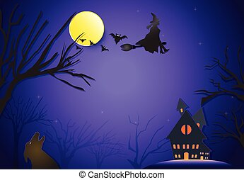 Young witch flying on broom and fox silhouette Halloween paper art background concept, paper cut style illustration