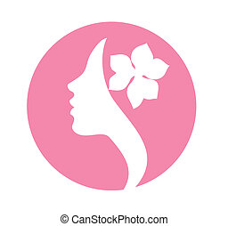 Young woman face icon
