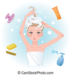 Young woman soaping her hair with body/hair care products. Funny expression. File contains Gradients, Blending tool, Transparency.