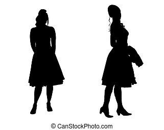 young women - silhouette