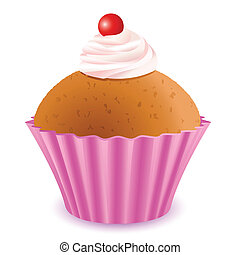 illustration of yummy cup cake with cherry topping