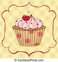 Sketchy yummy cupcake card. EPS 8 CMYK with global colors vector illustration.
