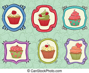 Yummy Cupcakes on sketchy frames.