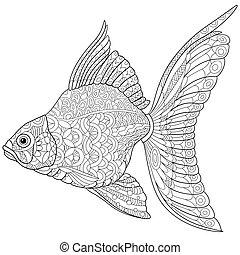 Zentangle stylized goldfish