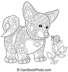 Coloring page of cardigan welsh corgi puppy. Freehand sketch drawing for adult antistress coloring book in zentangle style.