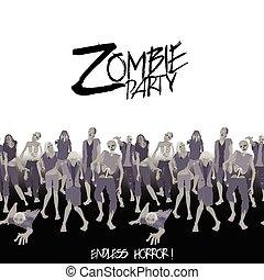 Zombie party. Zombie crowd walking forward. Halloween endless border