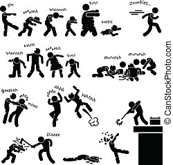A set of people stick figure pictograms representing zombie outbreak and attacking people and heroes defending the invasion.