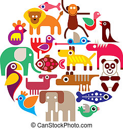 Group of Animals - round vector illustration on white background