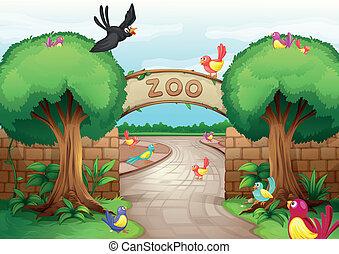 Illustration of a zoo scene